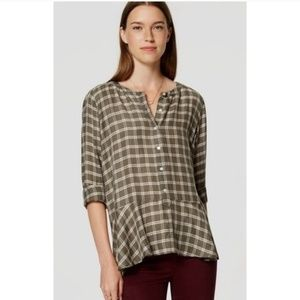 LOFT Plaid Peplum Button Down Blouse